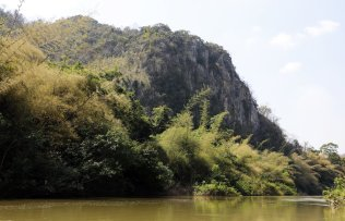 Bat Cave Wall seen from the Pasak River