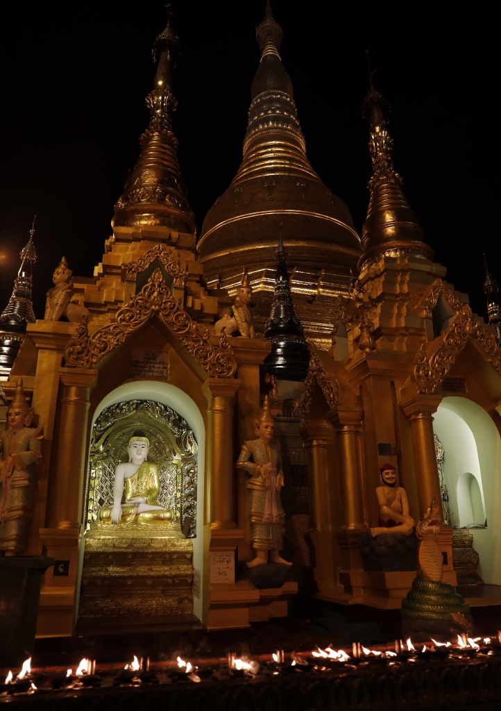 Butter lamps, Shwedagon Pagoda at night, Yangon