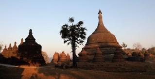 Sunrise glow on the pagodas