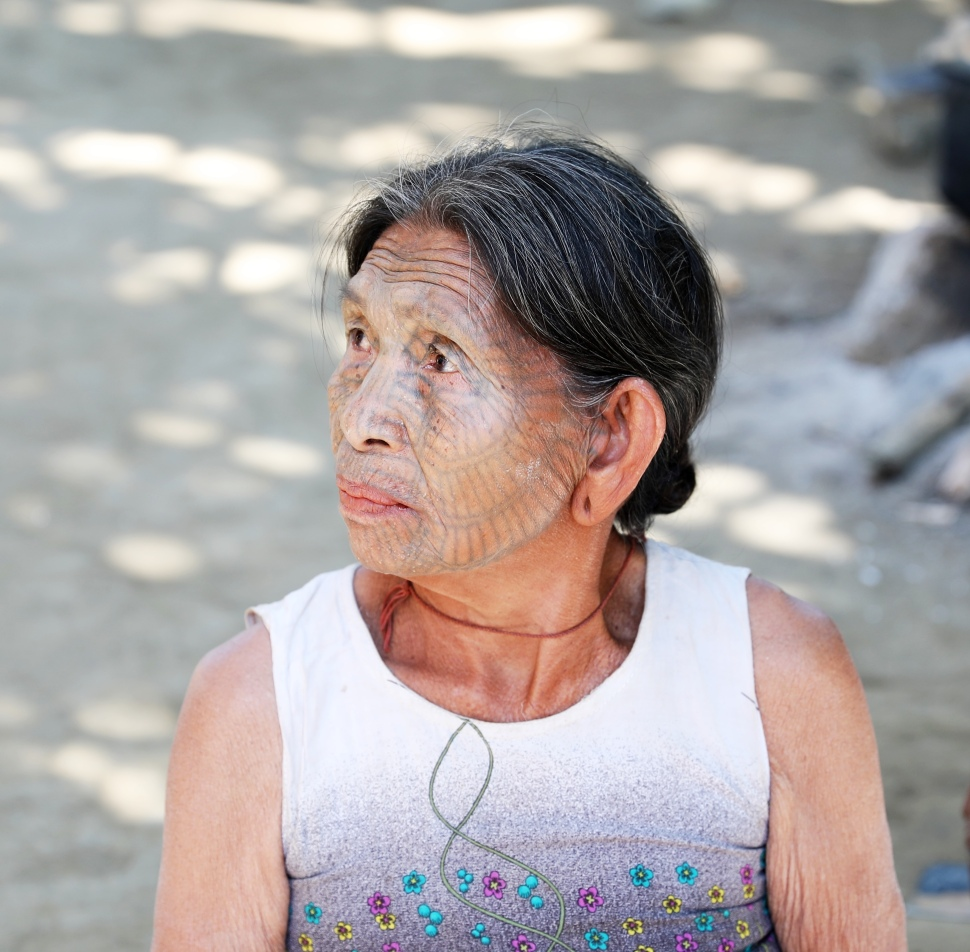 Tattooed-Face Lady from the Chin Tribe
