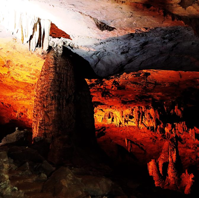 Illuminated chamber of Kong Lor Cave