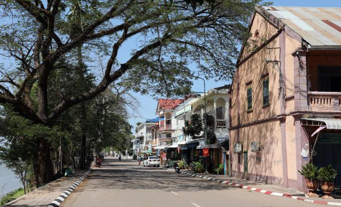 Thakhek River Front with French Colonial Buildings