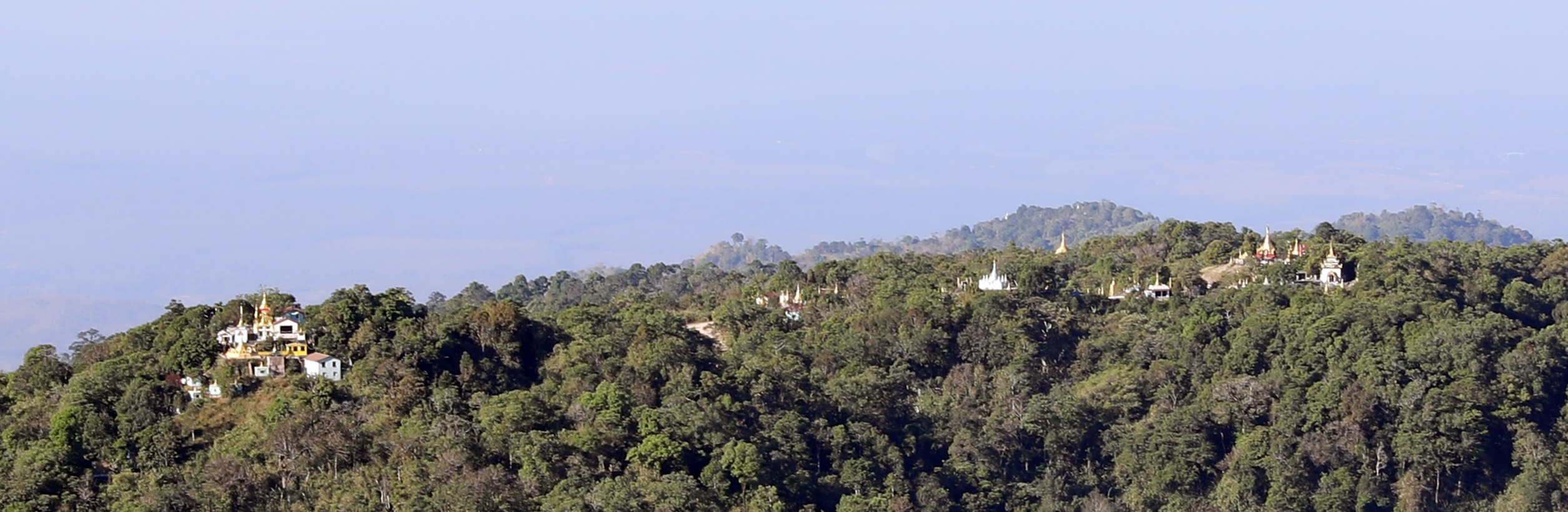Stupas on mountaintops