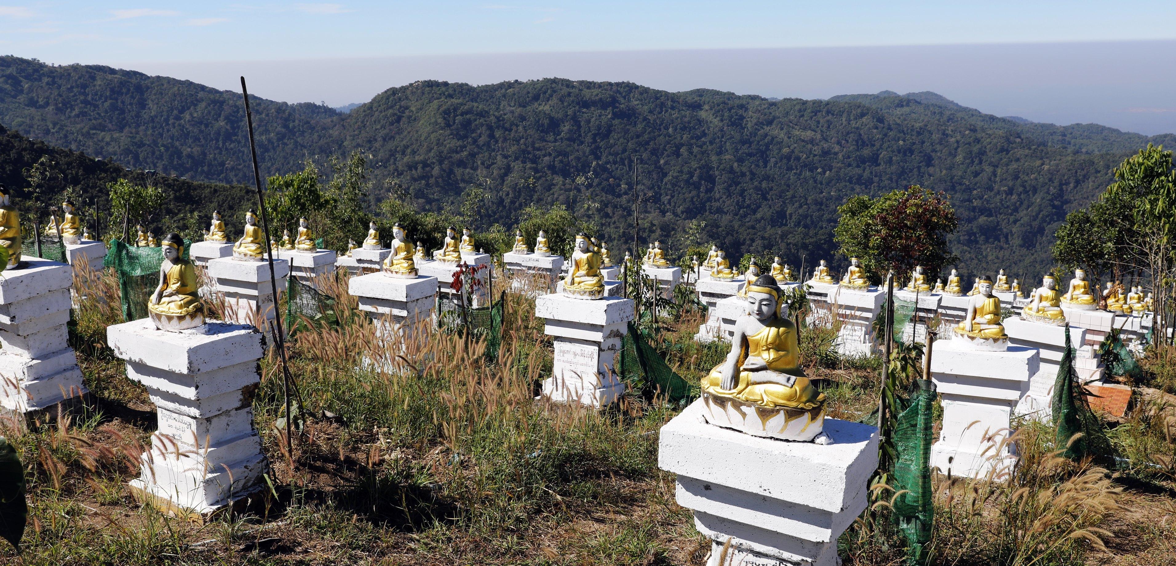 Hundreds of Buddha statues on Mt Kyaikthyo