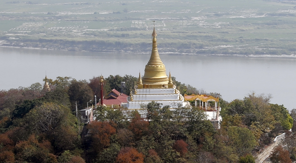 Pagoda and Arrawaddy River from Sagaing Hill