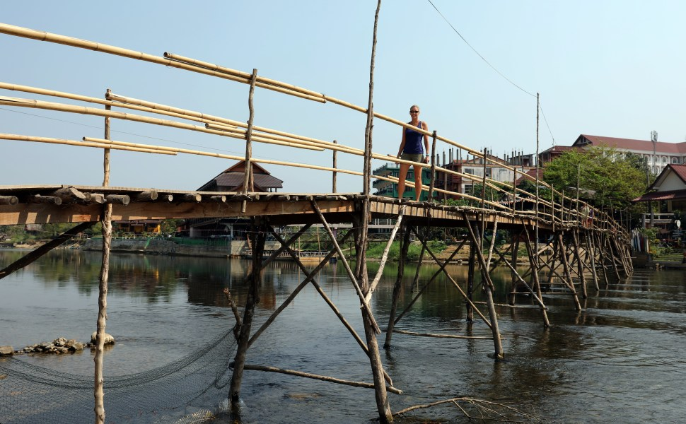 Bamboo bridge rebuilt after each rainy season, Vang Vieng