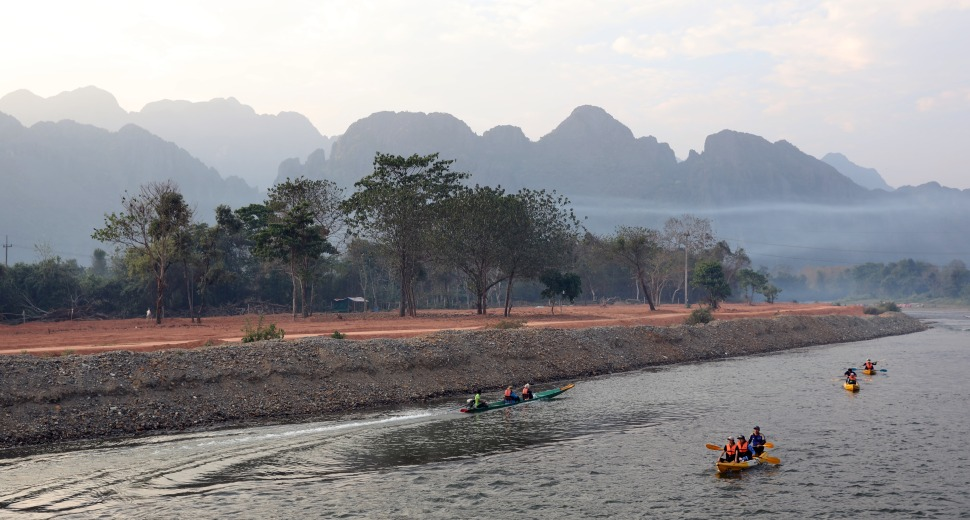 Smokey haze over Nam Song River, Vang Vieng