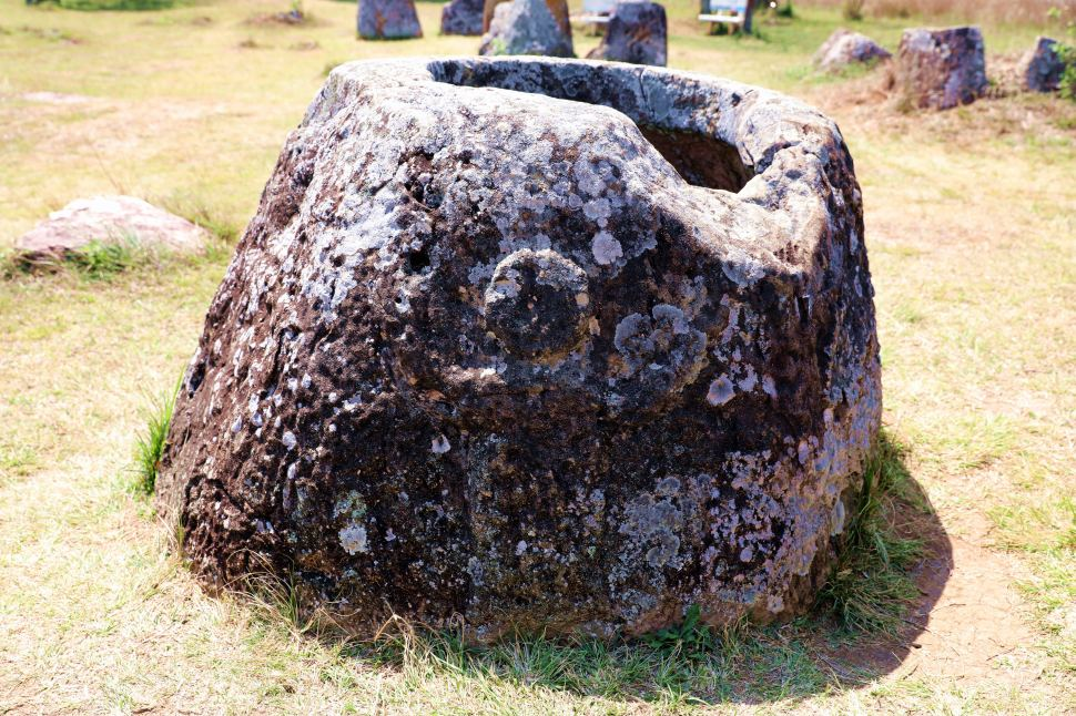 Image of a man carved on the Jar, Plain of Jars, Phonsavan