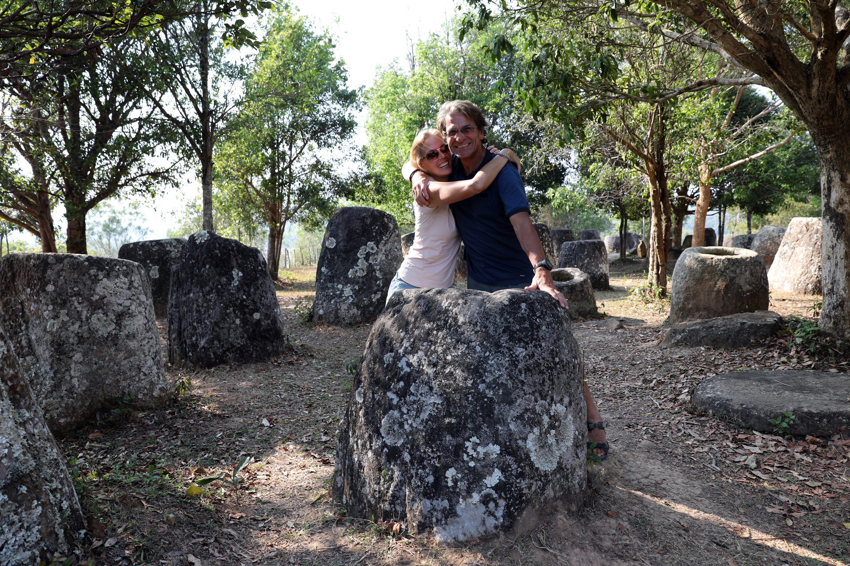 Celebrating our repair of the broken jar in Plain of Jars, Phonsavan