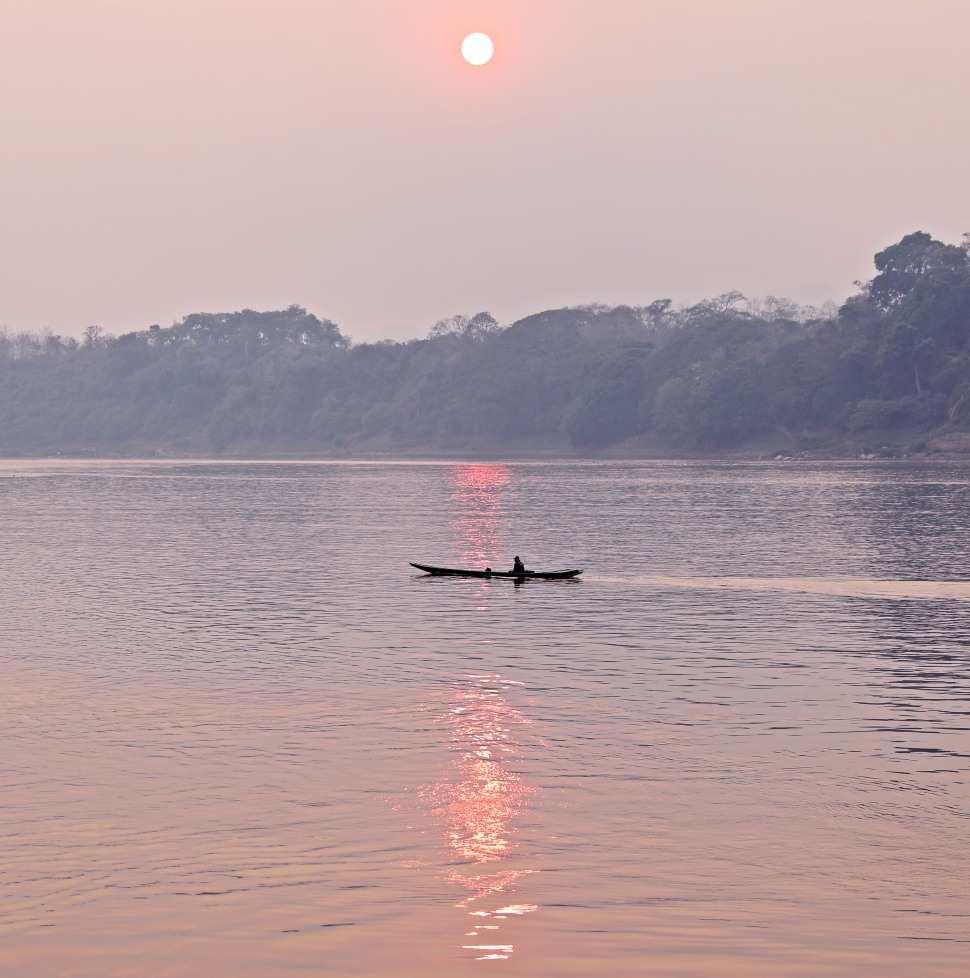 Sunset over the Mekong River, Luang Prabang