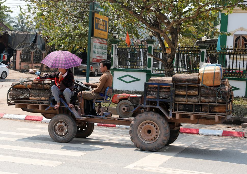 Homemade vehicle on the streets of Nam Tha