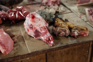 Goat head for sale at the Nam Tha market