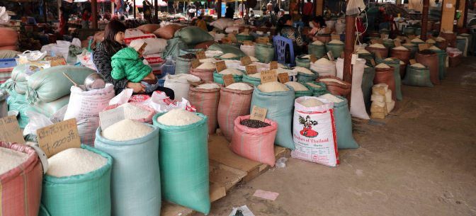 Different kinds of rice for sale at the Nam Tha market