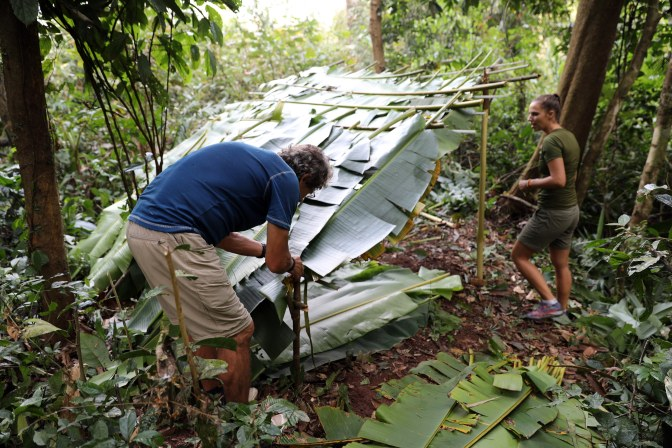 Building a jungle shelter