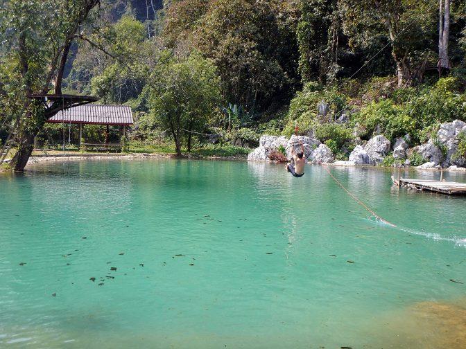 Zip-lining Blue Lagoon, Vang Vieng