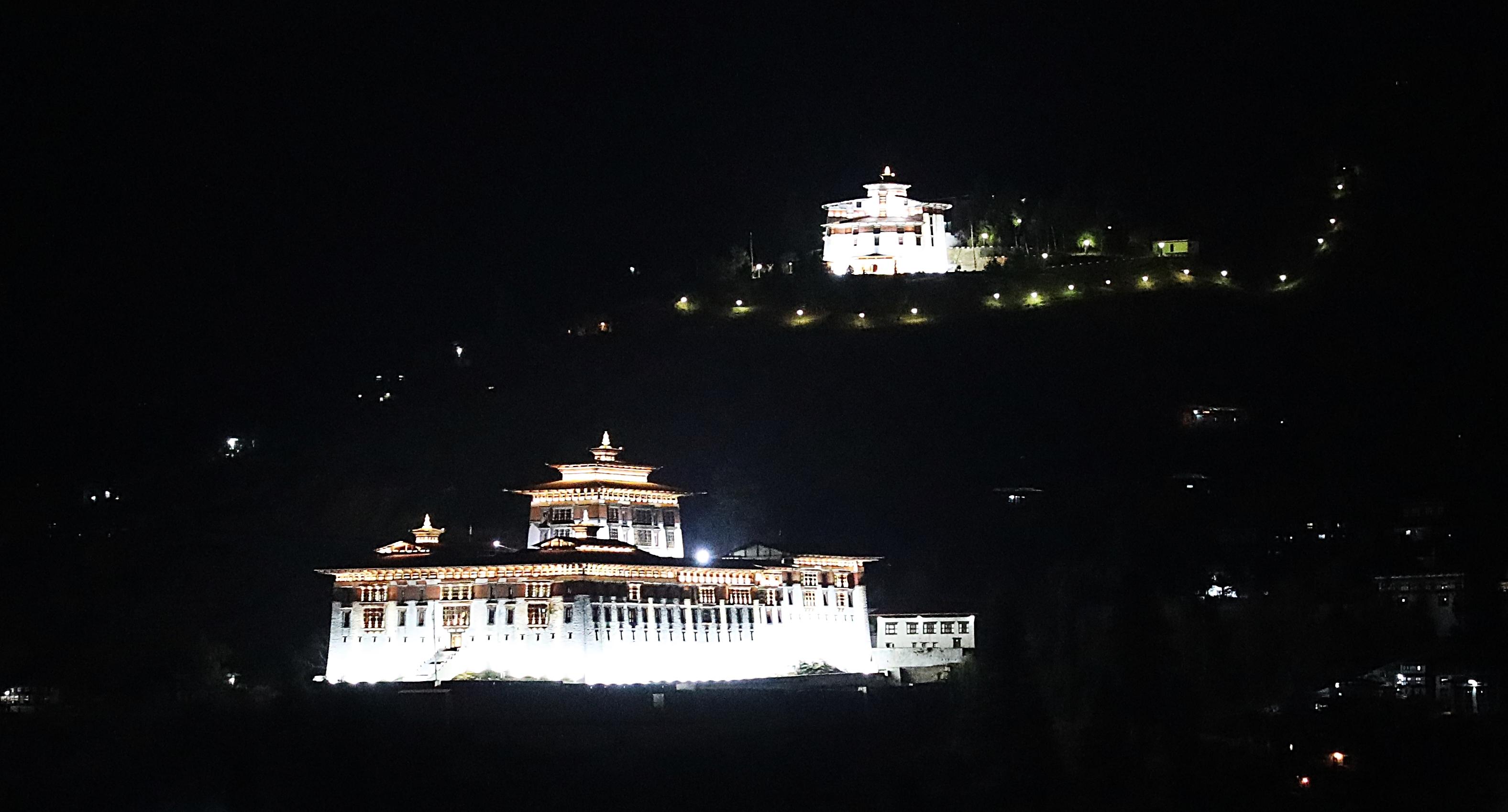 Paro Dzong and the Watchtower at night
