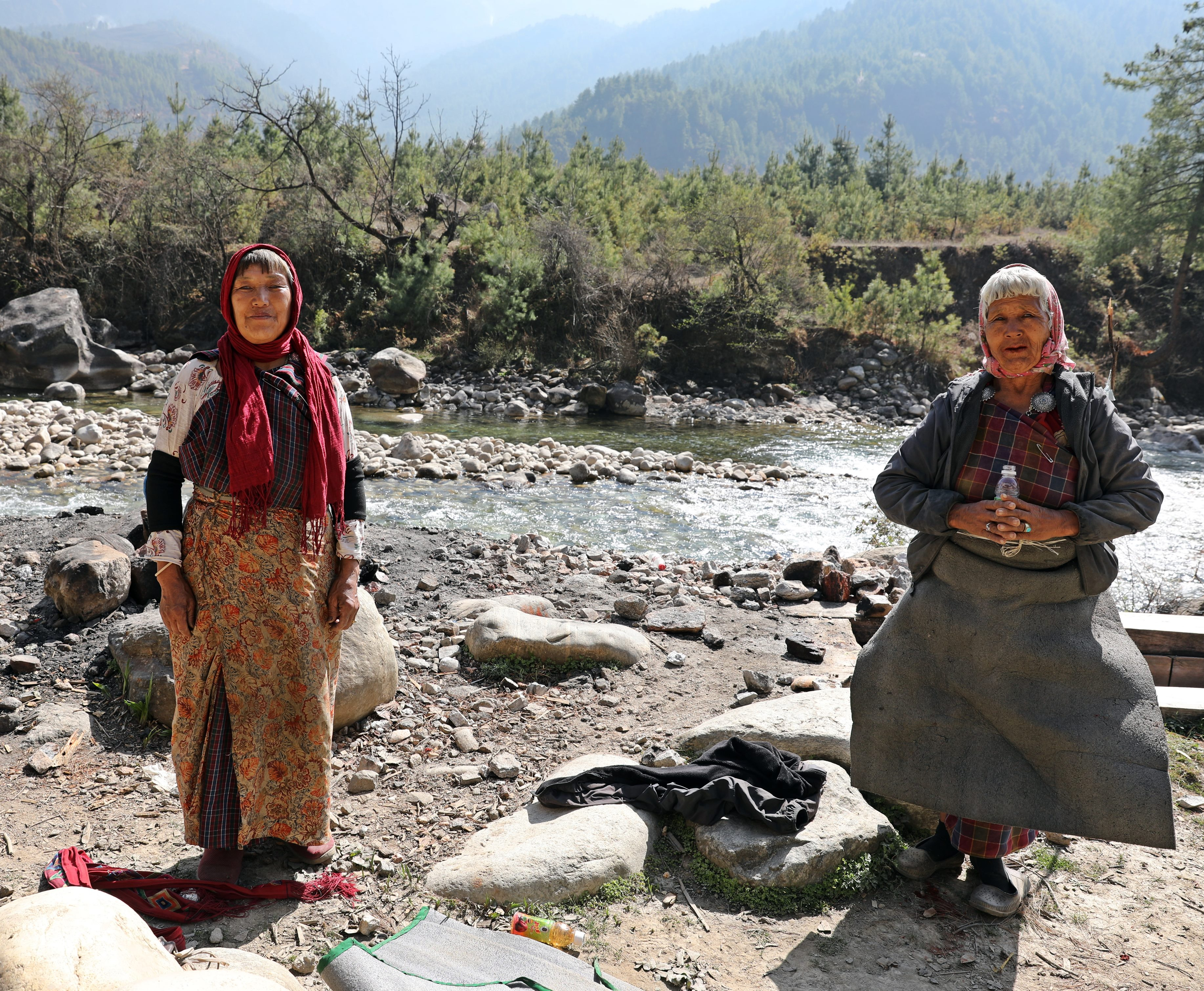 Two Bhutanese women going on a pilgrimage