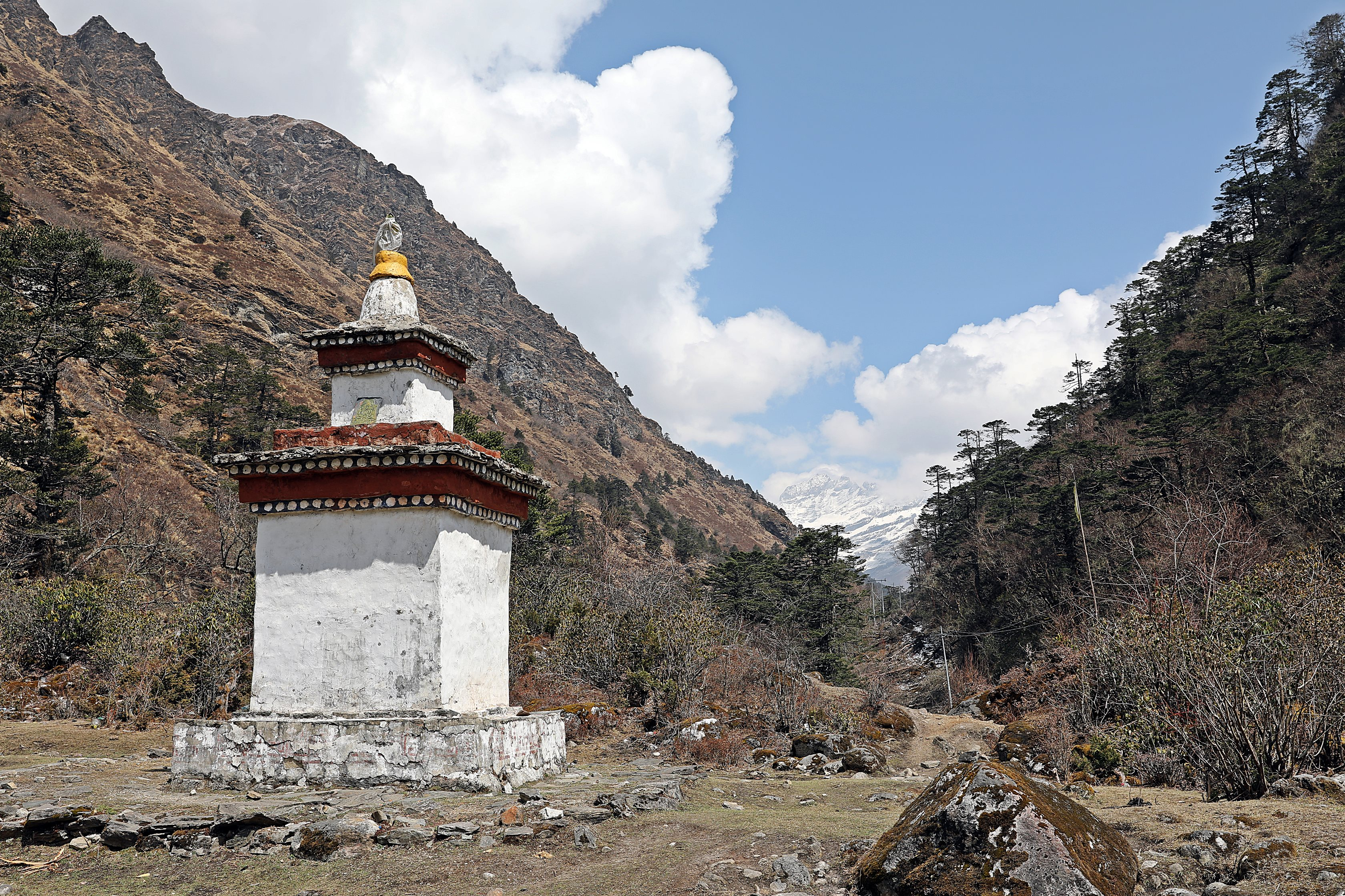 Buddhist Chorten at fork of Paa and Paro Chhus(Rivers)