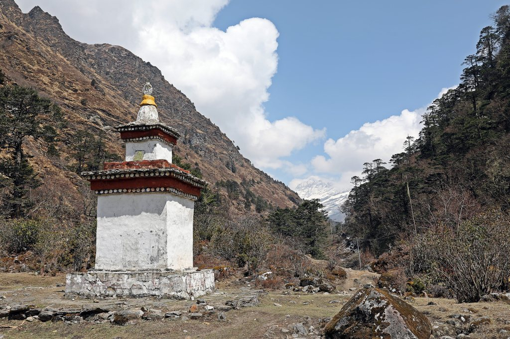 Buddhist Chorten at fork of Paa and Paro Chhus(Rivers)