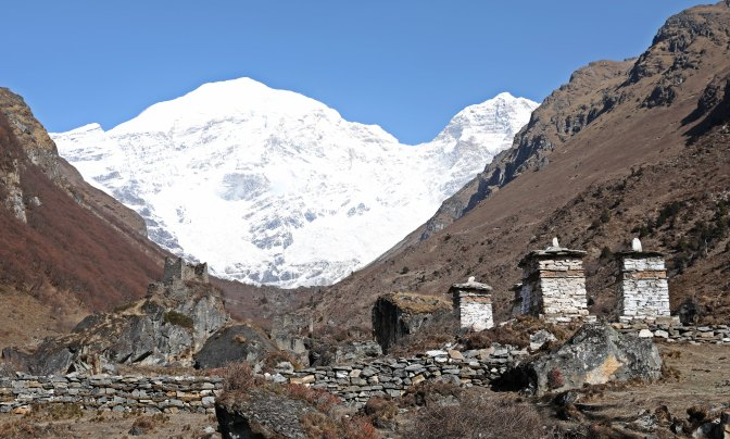 Jumolhari with Castle Ruins and Buddhist Chortens
