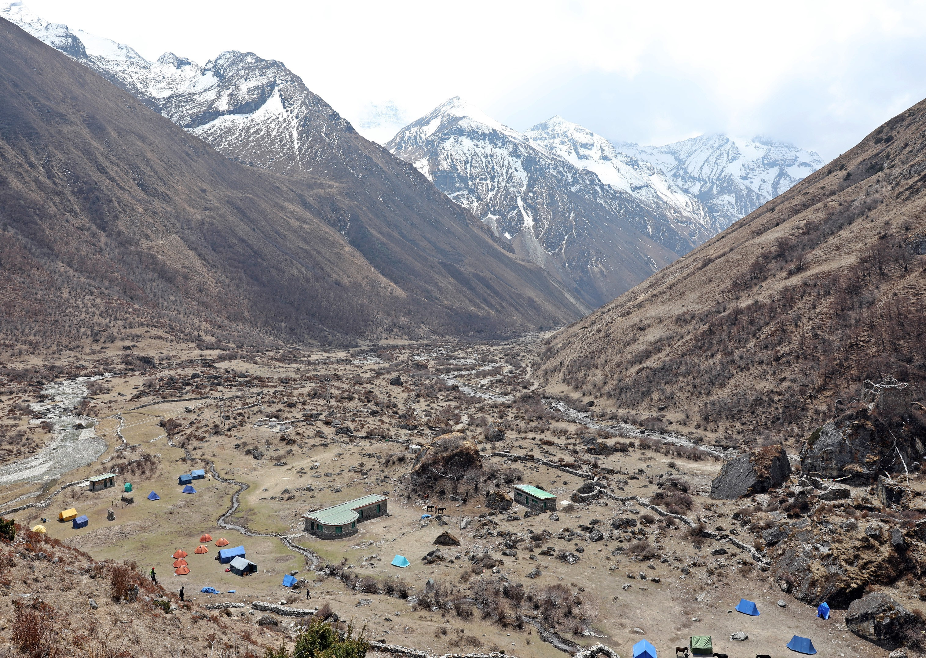 View of camp on acclimatization trek