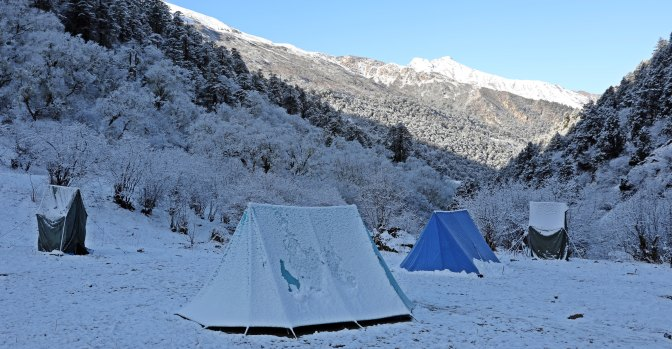 Morning after a snowy night at Yaksa Camp