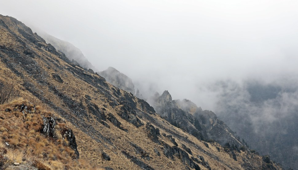 Rock features on the descent