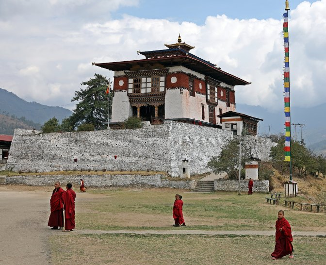 Monks at historic monastery in Thimphu