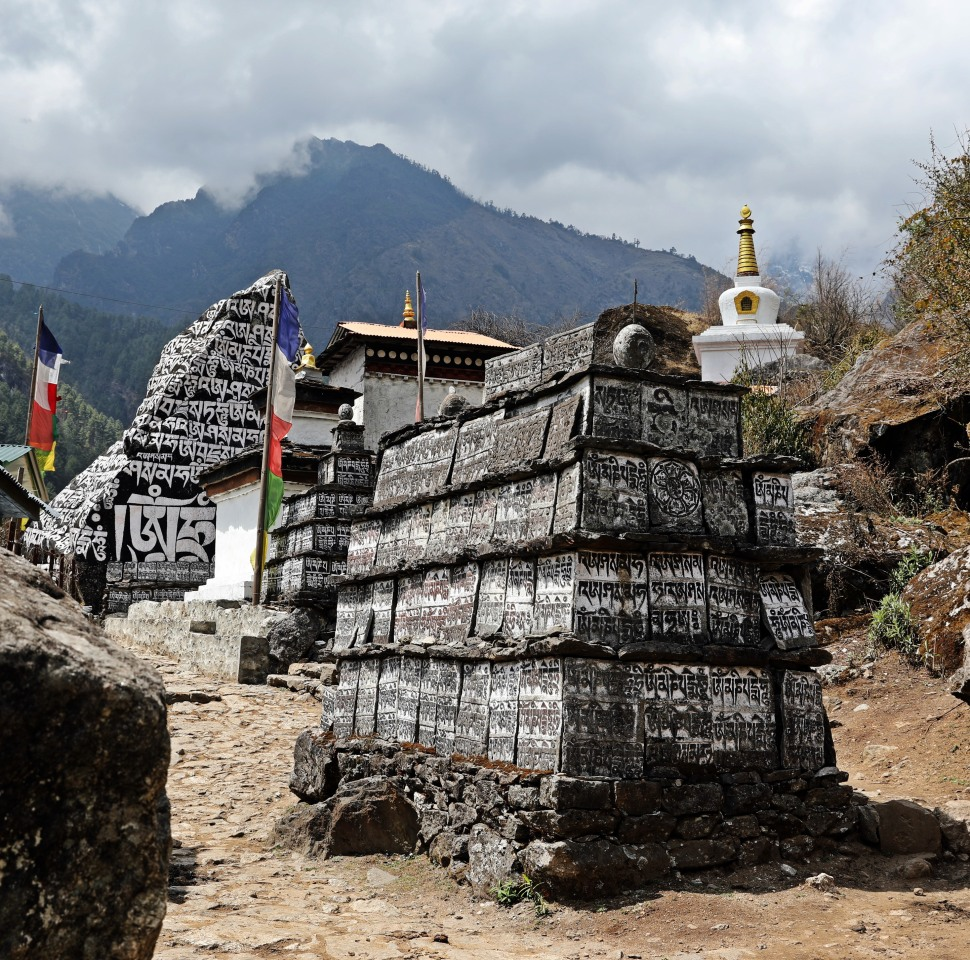 Mani Walls and Chortens on the Everest Base Camp Trail
