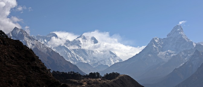 Our first view of Everest, Nuptse, Lhotse and Ama Dablam