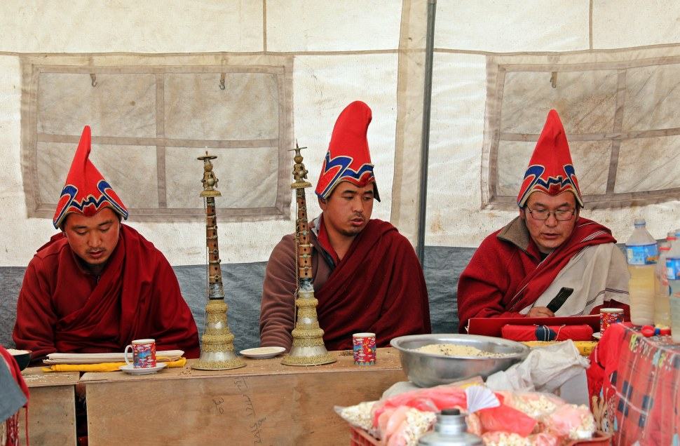 Lamas leading a Puja (ceremony) in Pangboche