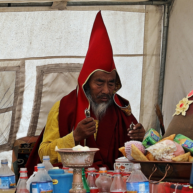 Head Lama at a Puja (ceremony) in Pangboche