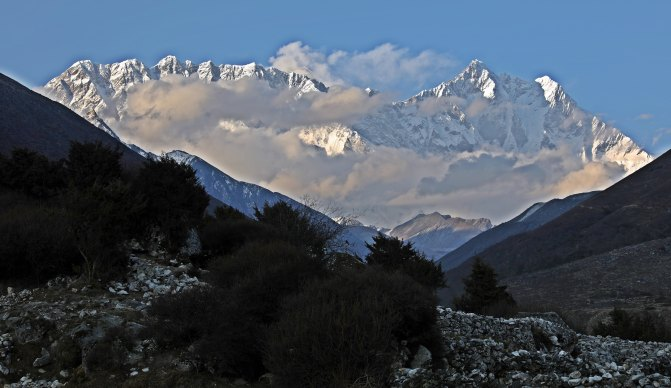 Mts. Nuptse and Lhotse from Pangboche village