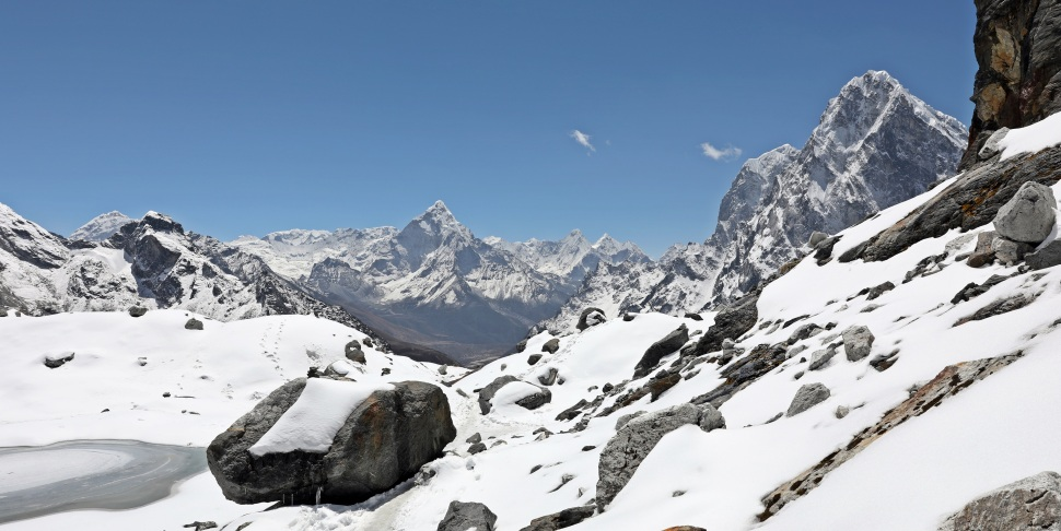 Everest (left), Ama Dablam (centre) from below Cho La