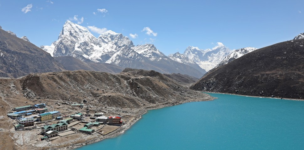 Gokyo in front of Dudh Pokhari (Lake)