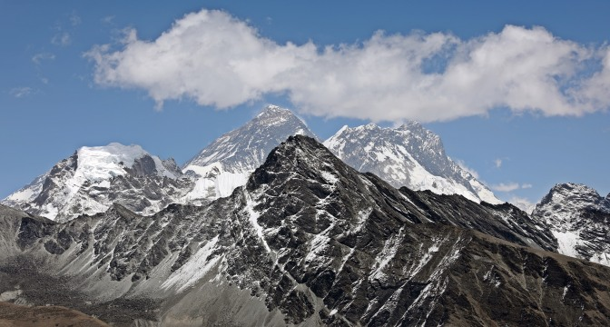 View of Everest and Lhotse from Gokyo Ri