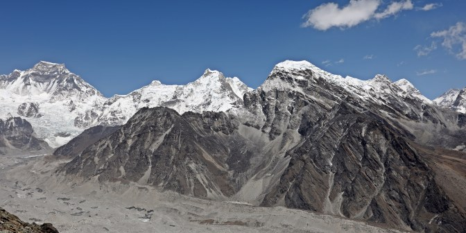 View of Cho Oyu (left), Everest (far right) from Gokyo Ri