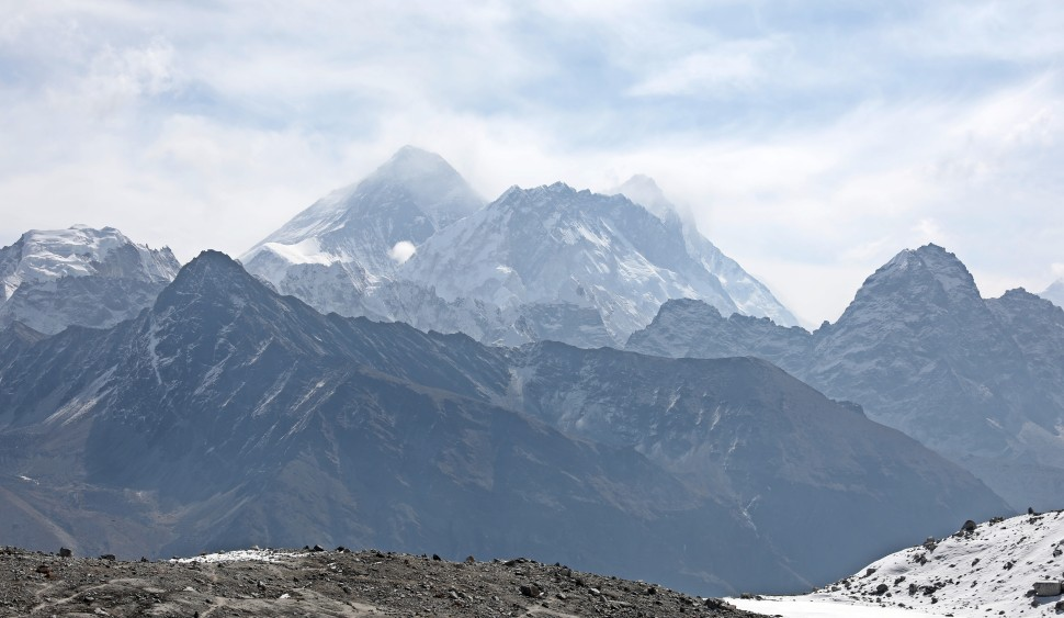 View of Everest (left), Nuptse (front) and Lhotse (right) from below Rinja La (Pass)