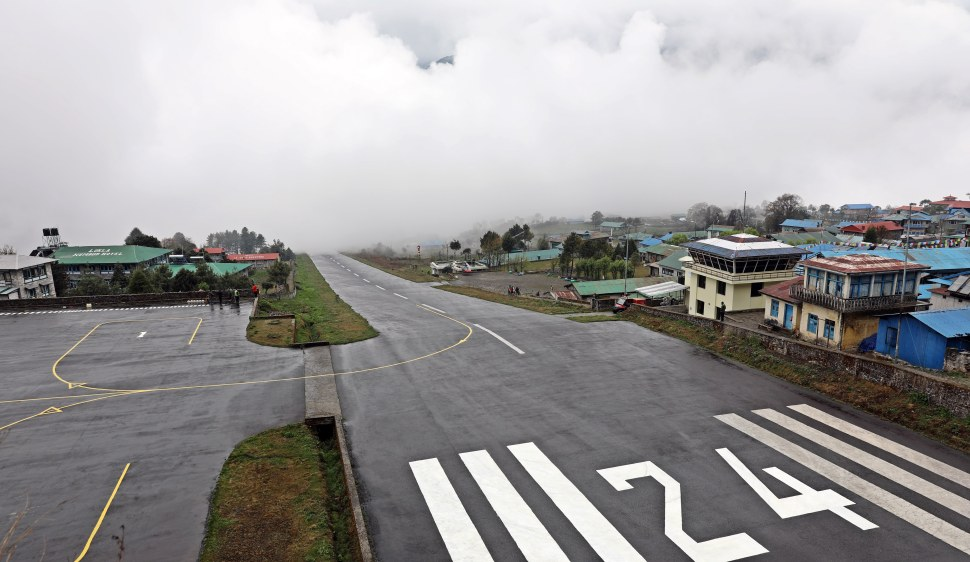 A foggy Lukla airport, no planes landing yet