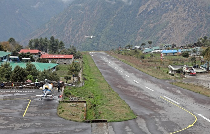 Plane landing at Lukla airport