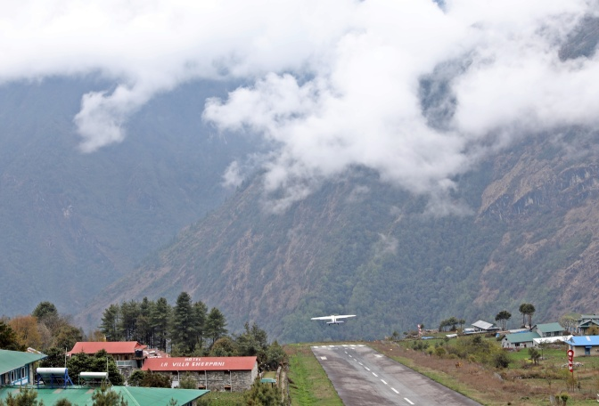 Plane taking off from Lukla