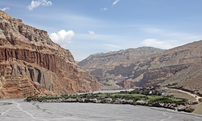 The oasis village of Chhuksang in the Kali Gandaki Valley