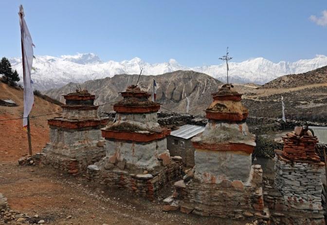 Buddhist chortens on the Upper Mustang trek