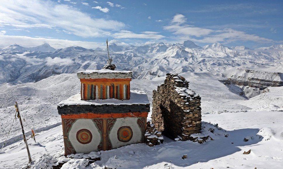 Buddhist chorten in front of the snowy Annapurna Range
