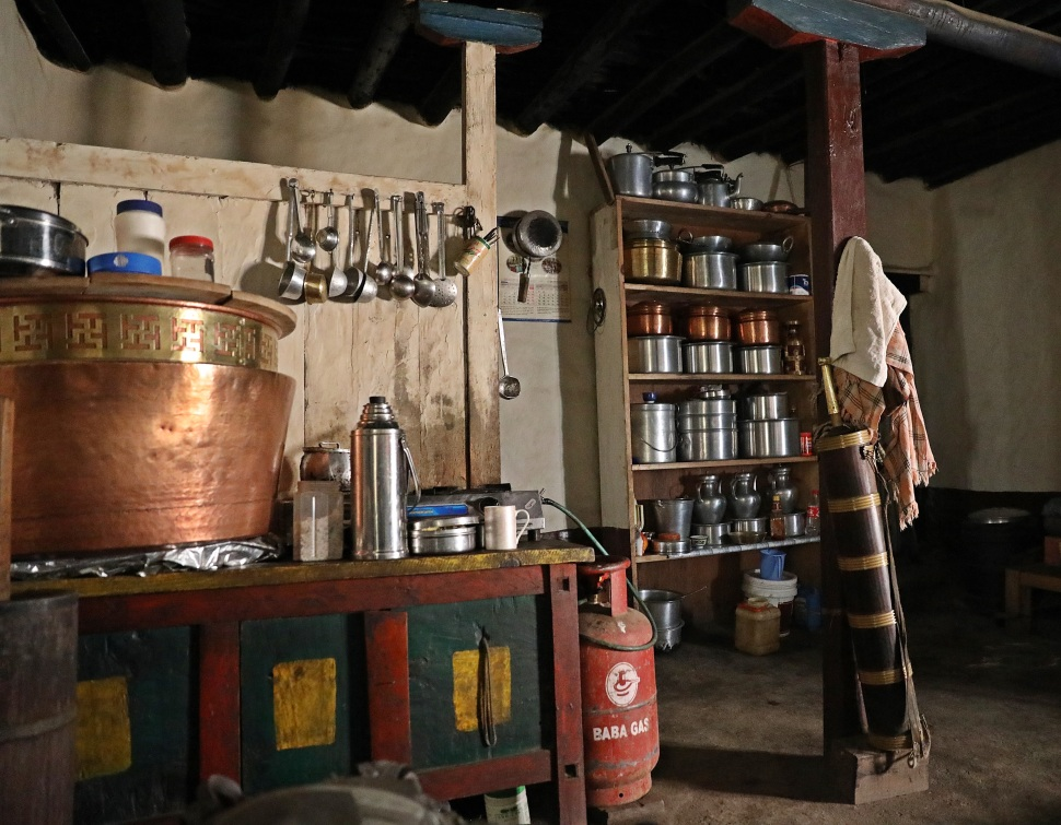 Kitchen of a Lo Manthang home
