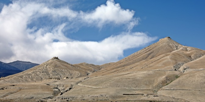 Ancient watch tower ruins on the hills above Lo Manthang