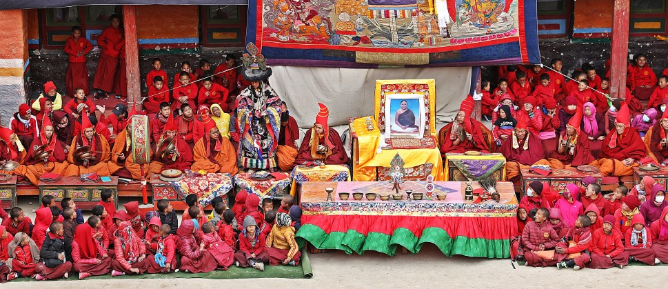 Head table and young monks at the Tiji Festival, Lo Manthang