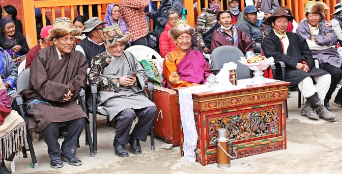 Local dignitaries in traditional dress