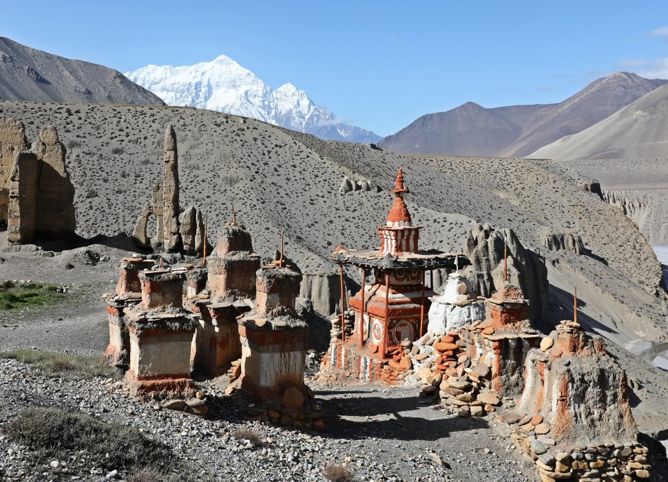 Buddhist chortens in the village of Tangby