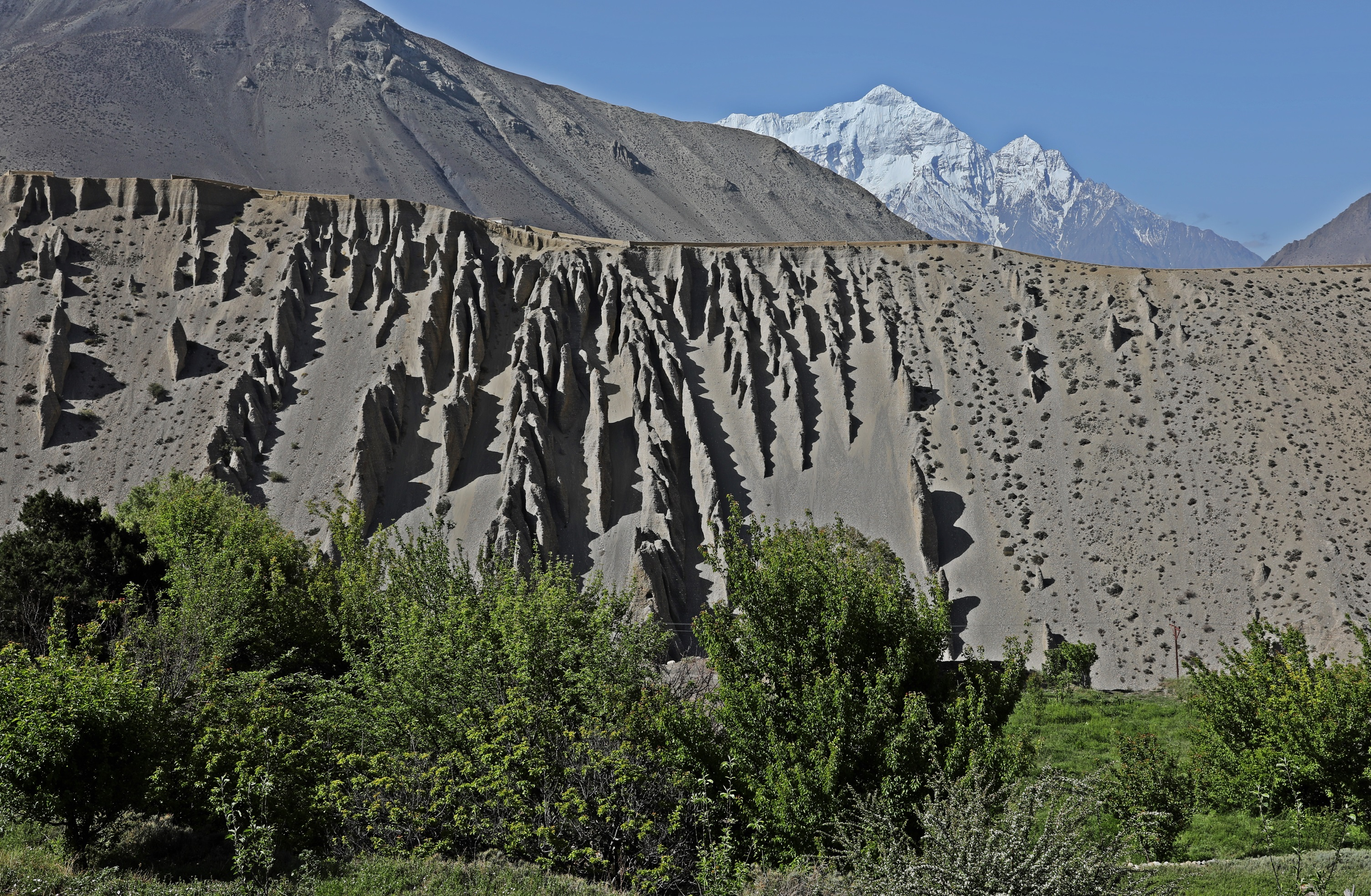 Wind worn rock features on the Upper Mustang trek